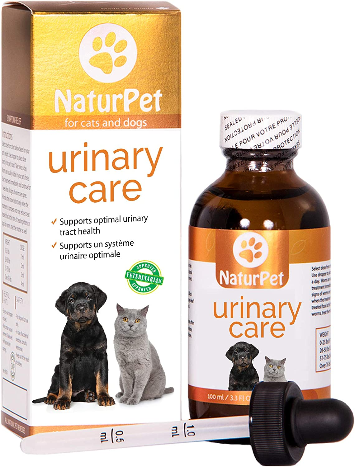 NaturPet Urinary Care for Dogs and Cats | Urinary Tract Support & UTI Relief, Gravel, Stones, Frequent Urination | 100mL