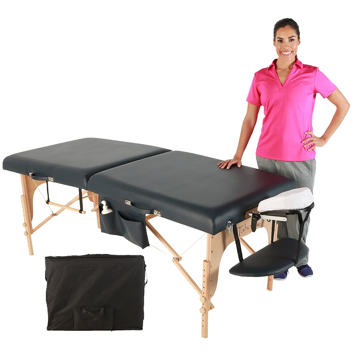 Exerpeutic 30 Tahoe Blue Sapphire Massage Table with Essential Accessories 9434