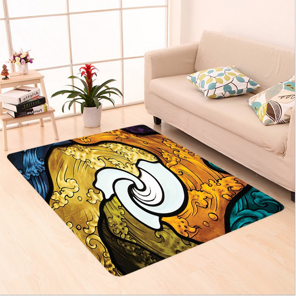 Nalahome Custom carpet Decor Pop Art Style Funky Unusual Stained Glass Window Thai Art Pattern Traditional Image Multi area rugs for Living Dining Room Bedroom Hallway Office Carpet (5' X 8')