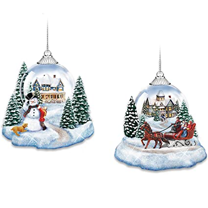 thomas kinkade market first joy to the world lighted holiday ornaments set of 2 by