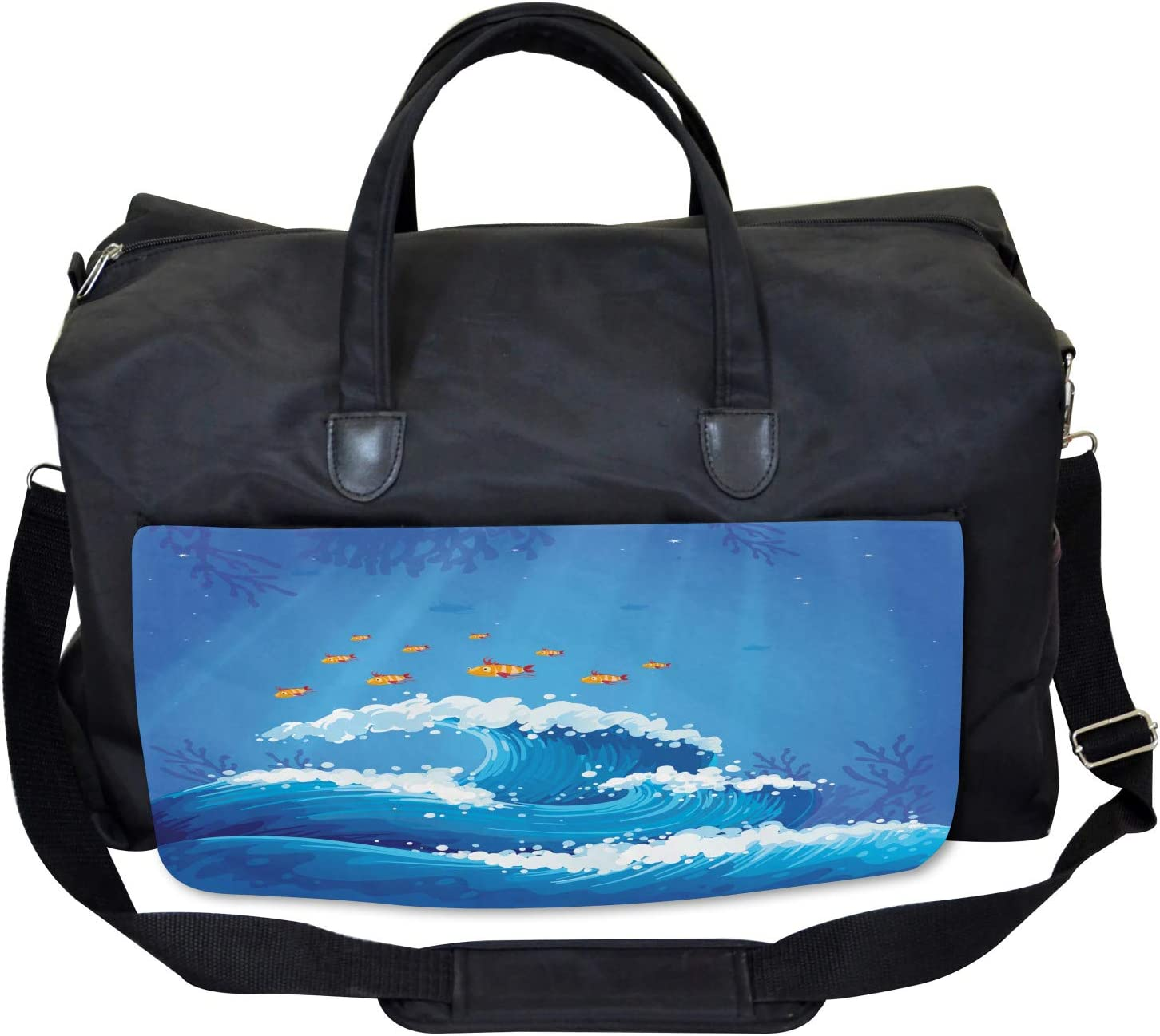Fish and Wave in Ocean Large Weekender Carry-on Ambesonne Marine Gym Bag