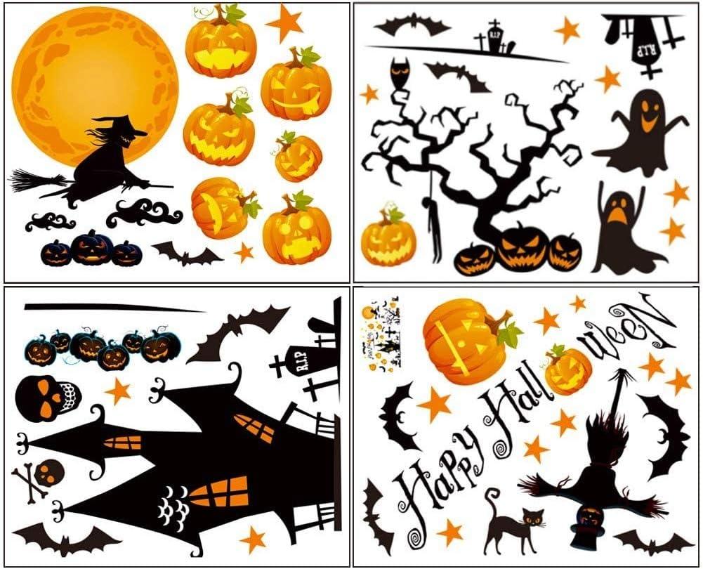 Oaroily 52 Pcs Halloween Window Clings Decals Decorations 4 Sheet Pumpkin Ghost Witch Window Stickers Glass Decals for Halloween Party Decoration Supplies