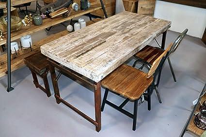 Stuff Loft Tavolo Da Pranzo In Legno Anticato E Cerato Pieghevole Stile Industriale Stile Shabby Chic Colore Bianco Amazon It Casa E Cucina