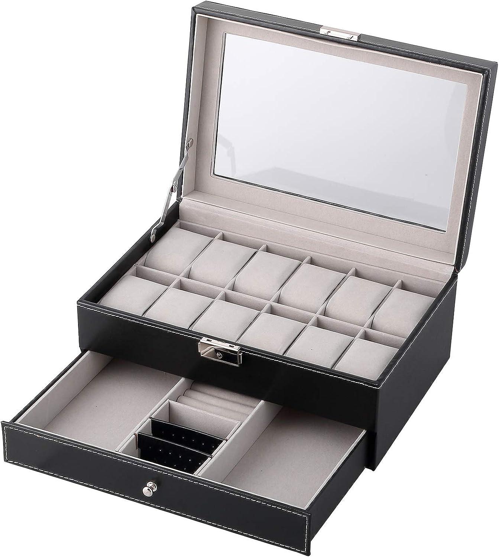 Caja para Relojes Estuche para Relojes y joyeros con 2 Capas 12 Compartimentos