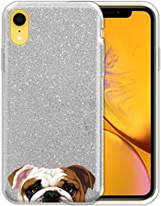 FINCIBO Case Compatible with Apple iPhone XR 6.1 inch, Shiny Sparkling Silver Bling Glitter TPU Protector Cover Case for iPhone XR - English Bulldog