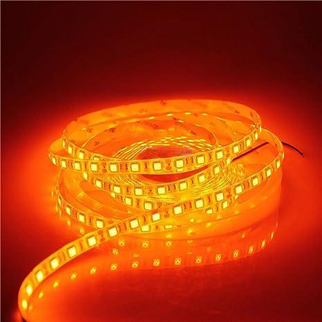 quality design 6344a 31f1a 5M LED Strip Light 16.4ft 5050 SMD Orange Color 300Leds IP65 Waterproof  Flexible LED Strip Light lamp For Car Wall Indoor Outdoor Decoration 12V DC