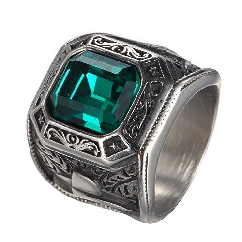 PAMTIER Los anillos de boda de oro Zirconia cuadrados grandes del acero inoxidable de los hombres de Tamaño 19: Amazon.es: Joyería