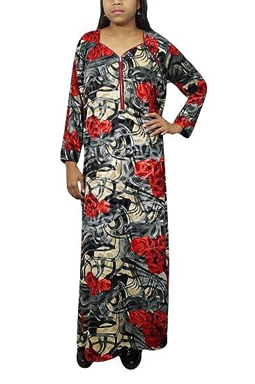 087aba52d Indiatrendzs Women Printed Nightdress Woolen Velvet Red Black Maxi Dress M   Amazon.in  Clothing   Accessories