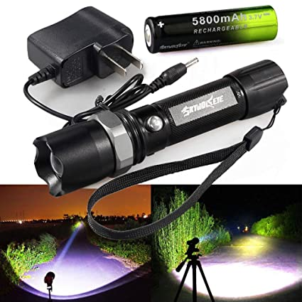 USB Rechargeable Tactical 15000Lumens T6+COB LED Flashlight Torch Lamp Zoomable