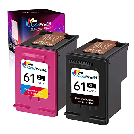 ColoWorld Remanufactured Replacement for 61xl Black and Tri-Color Ink  Cartridge Combo Pack High Yield 61XL to Use with Envy 4500 5530 5534  Deskjet