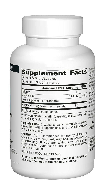 Magtein, magnesio L-treonato, 667 mg, 180 cápsulas - Source Naturals: Amazon.es: Salud y cuidado personal