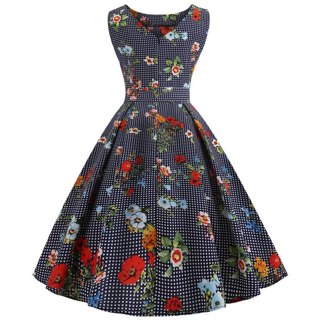 Usstore  Women Vintage Swing Dress Fashion Classic Elegant Floral Print Dots Sleeveless High Waist Slim Prom Dress