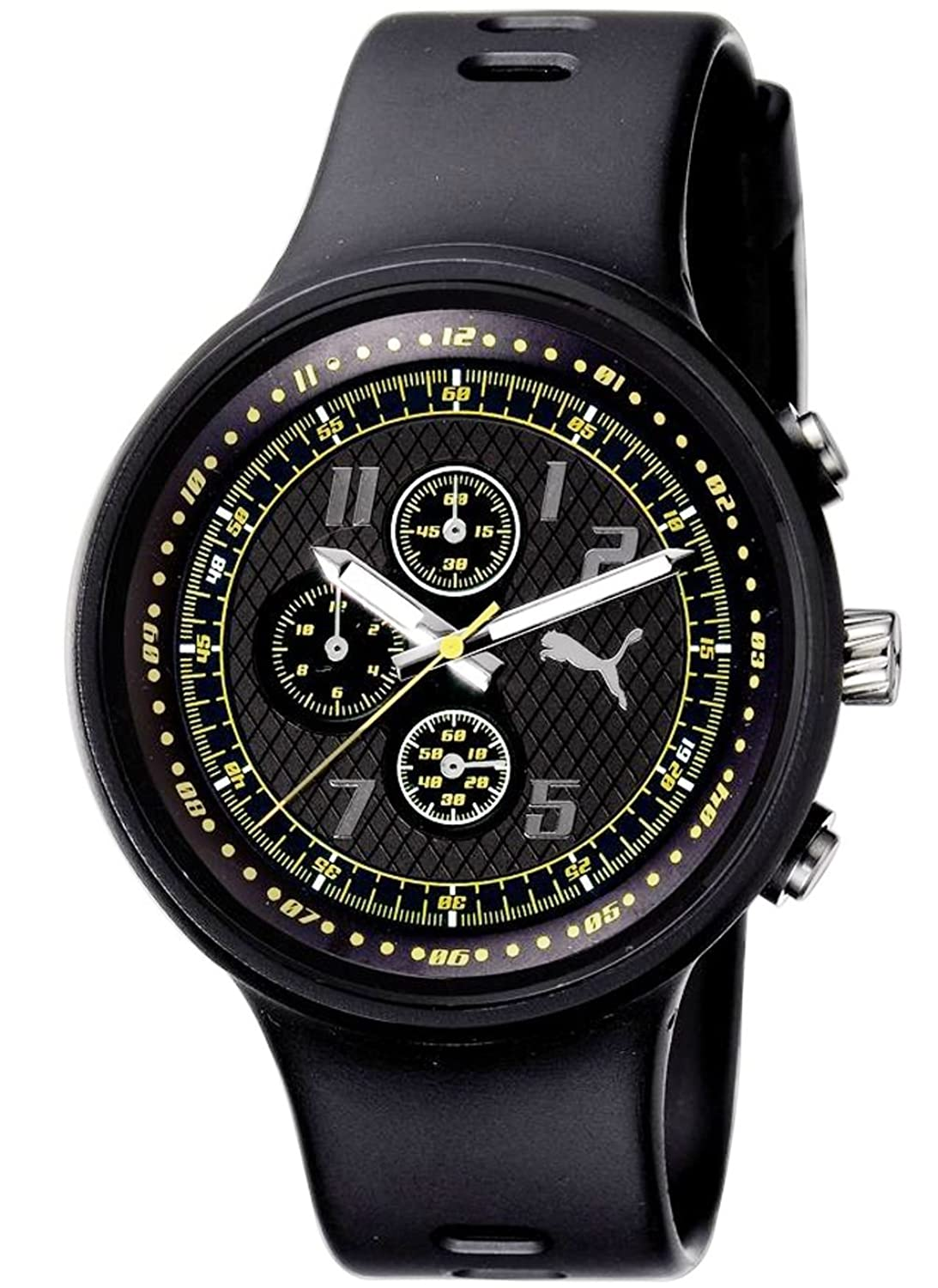 amazon com puma men s pu910401004 slick chronograph black and amazon com puma men s pu910401004 slick chronograph black and yellow accented dial watch puma watches