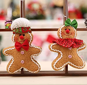 WINZIK Christmas Pendant, 5.9 x 4.7 inches, Cute Cartoon Gingerbread Cookies Doll Christmas Tree Hanging Ornaments for Festival Party Decoration (2pcs/Set)