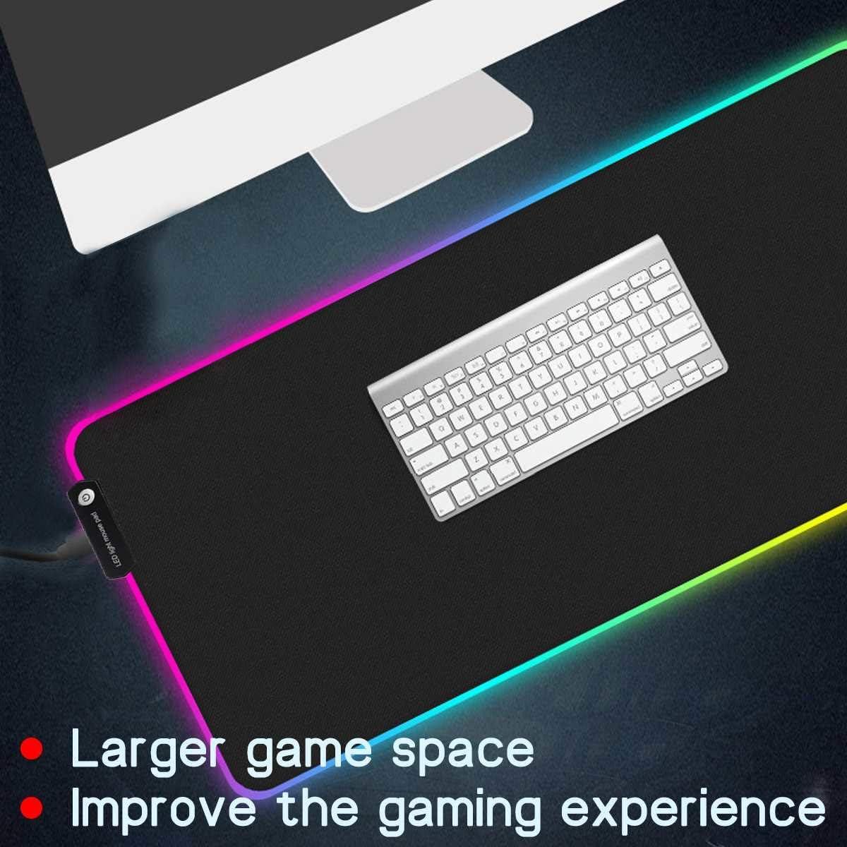 DELAMZ Large RGB LED Gaming Mouse Pad Gamer Mousepad LED Lighting Illuminated Colorful USB Luminous Non-Slip Mouse Mice Mat
