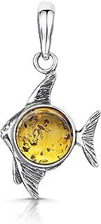 Amberta 925Sterling Silber mit baltischer Bernstein–Fisch Anhänger