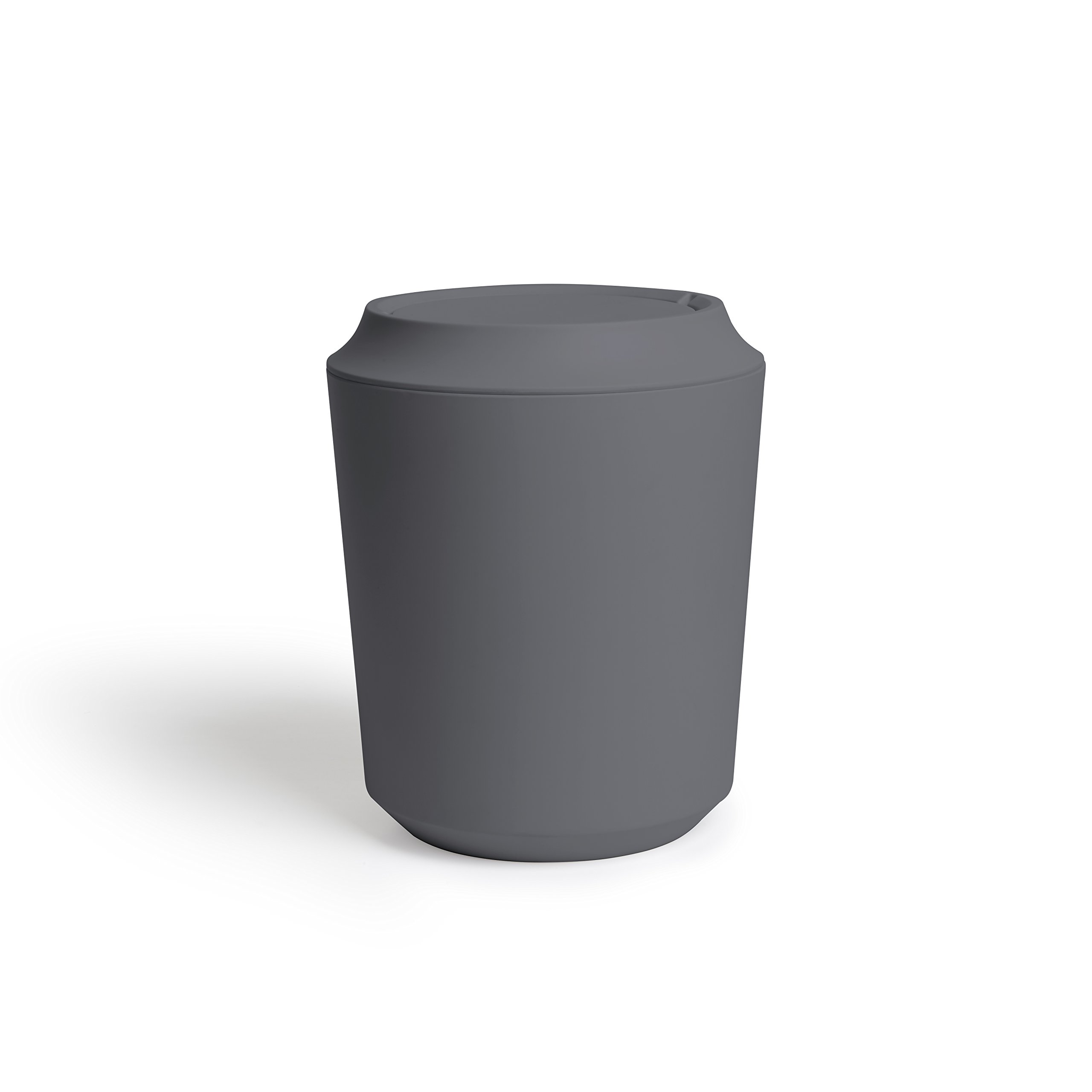 Umbra Corsa Bathroom Trash Can with Lid - Small Waste Basket, Charcoal