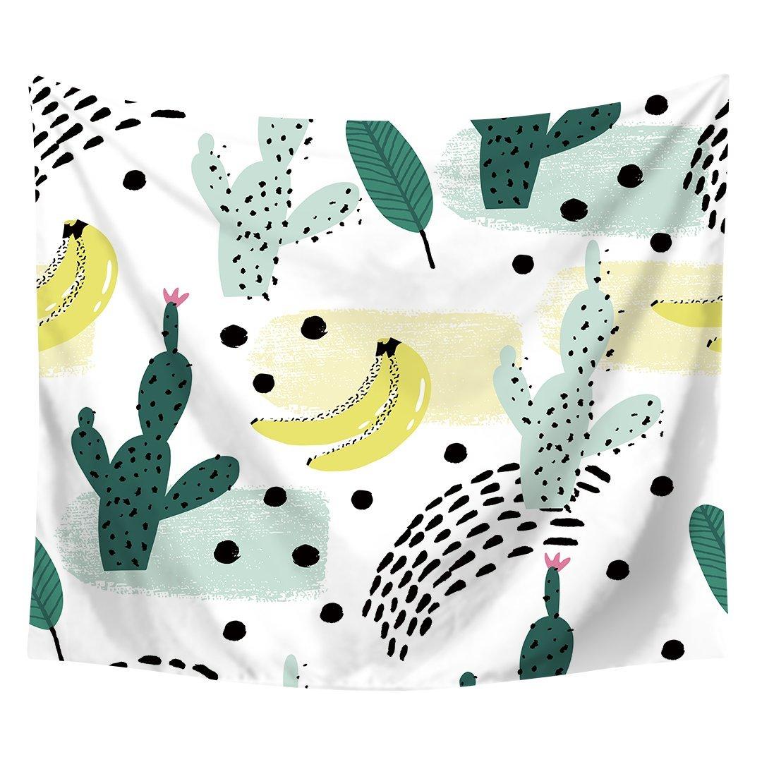 Fresh Banana Cactus Vigorous Green Leaf Printed Wall Art Hanging Tapestry Dorm Decor