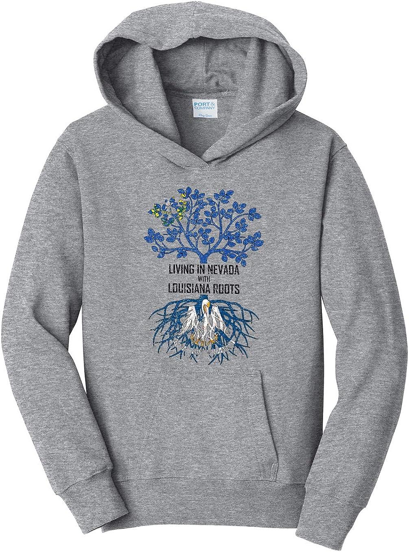 Tenacitee Girls Living in Nevada with Louisiana Roots Hooded Sweatshirt