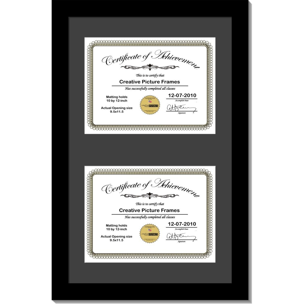 CreativePF [14x24bk-b] Black Vertical Double Diploma Frame with 2 opening Black Mat, Holds 2-10x12-inch Documents with Wall Hanger