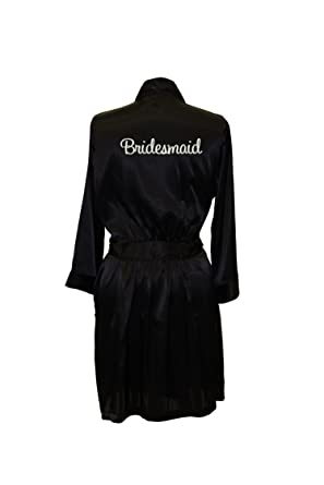 Wedding Prep Gals Women s Embroidered Satin Robe for Bridesmaid X-Small  black 0be0b61eb
