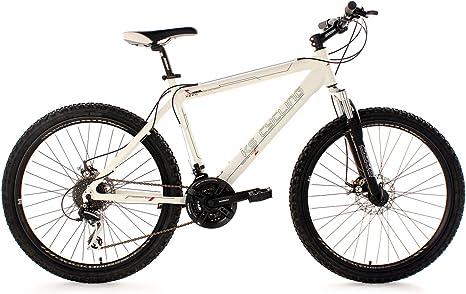 KS Cycling Heed 255B - Bicicleta de montaña, color blanco, talla L (173-182 cm), ruedas 26