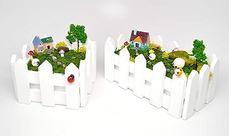 Amazon com : Pixie Glare Fairy Garden Kit in Wooden Fenced Planter