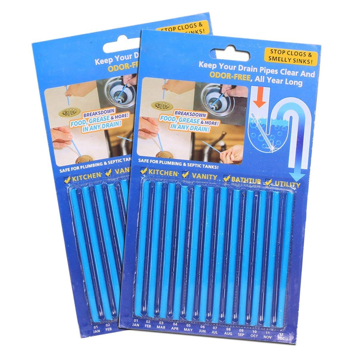 Drain Stix Drain Sticks Clean Sticks Garbage Disposal Cleaner and Deodorizer Keeps Drains & Sewer Clear and Odor Free 24 Pcs/2Pack (Cleaner-41)