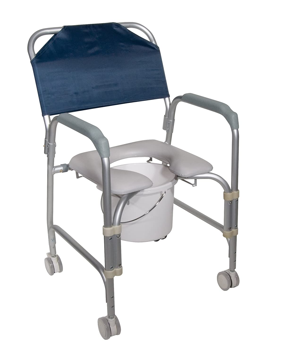 Lightweight Portable Shower Chair Commode with Casters Drive Medical 11114KD-1