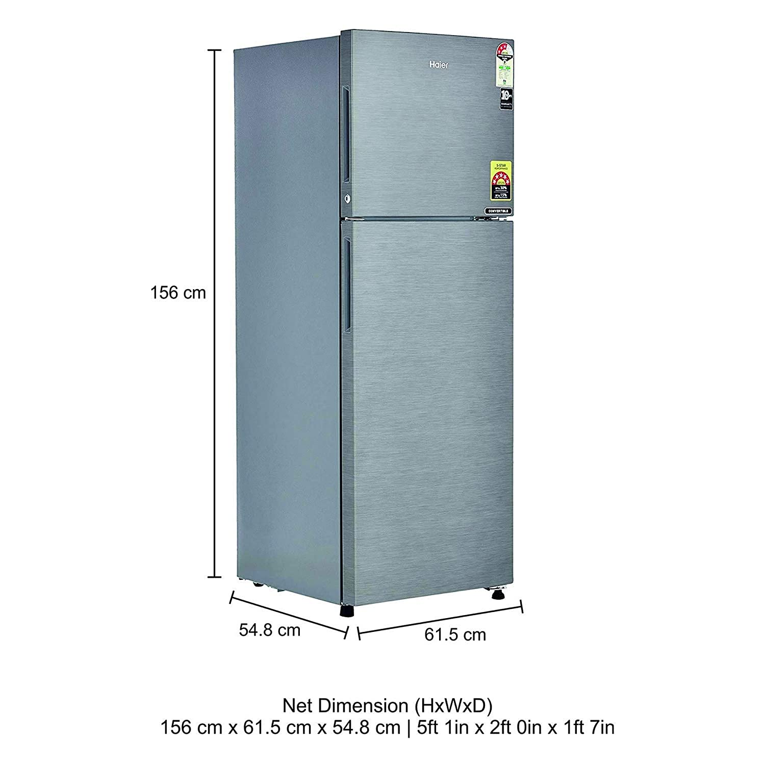 Haier 258 L 3 Star Frost Free Double Door Refrigeratorhef 25tds Dazzle Guard Diamond Coating Steel Brushline Silver Convertible Home Kitchen
