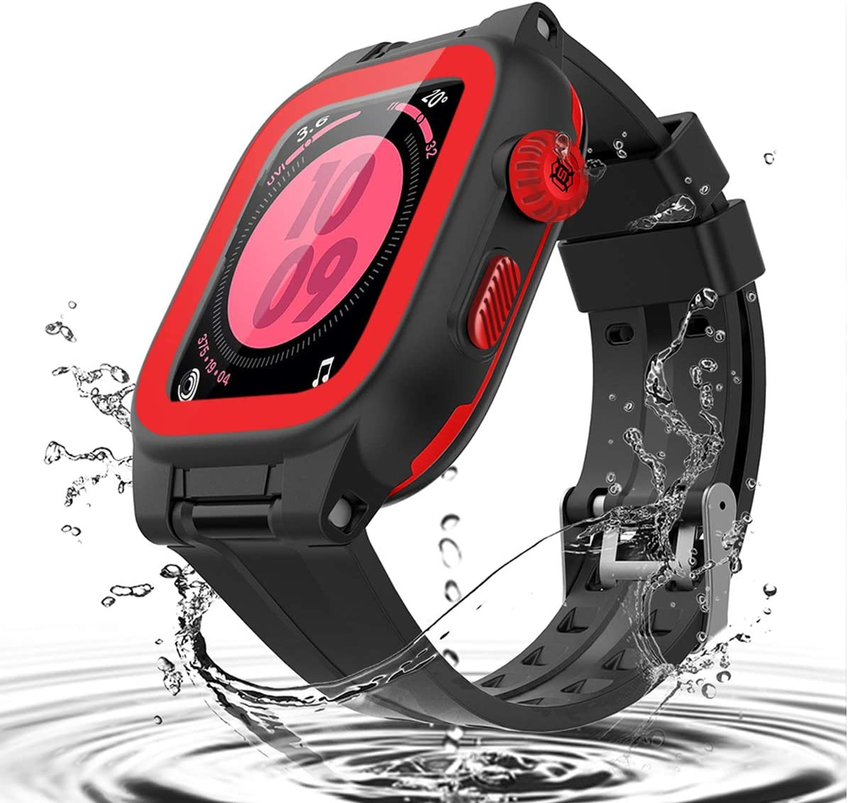 Apple Watch Series SE / 6 / 5 / 4 44mm Case Waterproof with Screen Protector and Band, iWatch Series SE / 6 / 5 / 4 Case Shockproof Dustproof Rugged Full Protection Bumper Case for Men Women (Red)