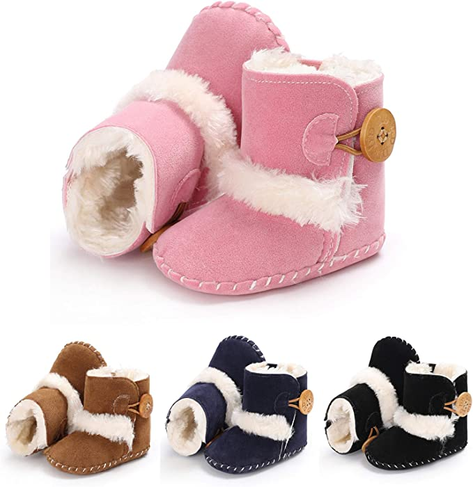 Coffee 13cm Alamana Lovely Christmas Elk Baby Infant Cotton Warm Anti-Slip Prewalker Toddler Shoes