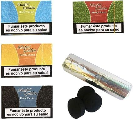 Outletdelocio. Pack 4 Hierba para cachimba Shisha de sabores Variados (Piña, Regaliz, Ron y Limon) + Pastillas Carbon cachimba