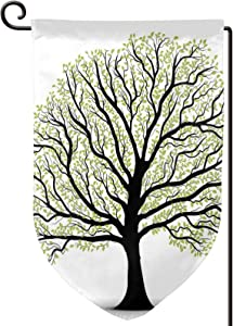 TENJONE Garden Flag Winter Yard Decor Bright,Big Old Lush Tree with Lot of Leaves and Branches Nature Growth Eco Art,Double-Sided 12x18 inch