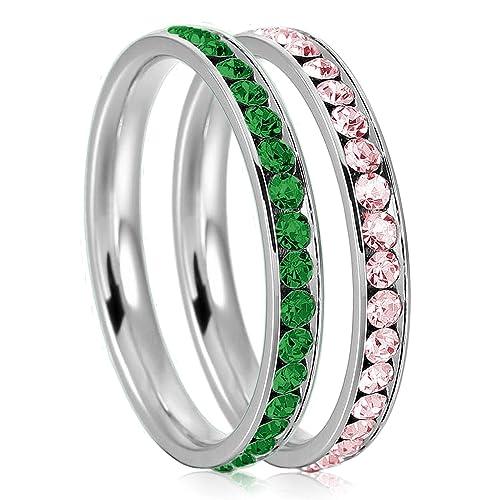 e36a92e9ef56 3 mm acero inoxidable eternidad Esmeralda y Rosaline color cristal  apilables Anillos de boda banda (2 piezas) Set  Amazon.es  Joyería