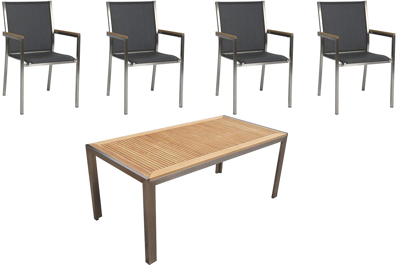 STERN Polaris Esstischgarnitur, Silbergrau, Edelstahl/FSC-Teak, Tisch 180x90cm, 4 Stapelsessel
