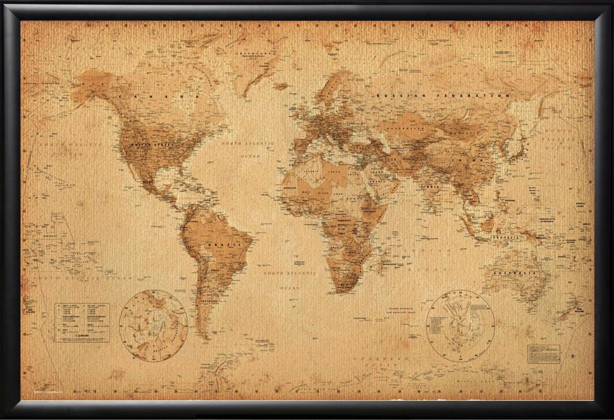 Amazon framed perfect for push pins world map vintage 24x36 amazon framed perfect for push pins world map vintage 24x36 poster in real wood premium matte black finish crafted in usa prints posters prints gumiabroncs Image collections