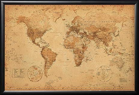 Amazon framed world map antique art 24x36 poster in matte framed world map antique art 24x36 poster in matte black finish wood frame gumiabroncs Choice Image