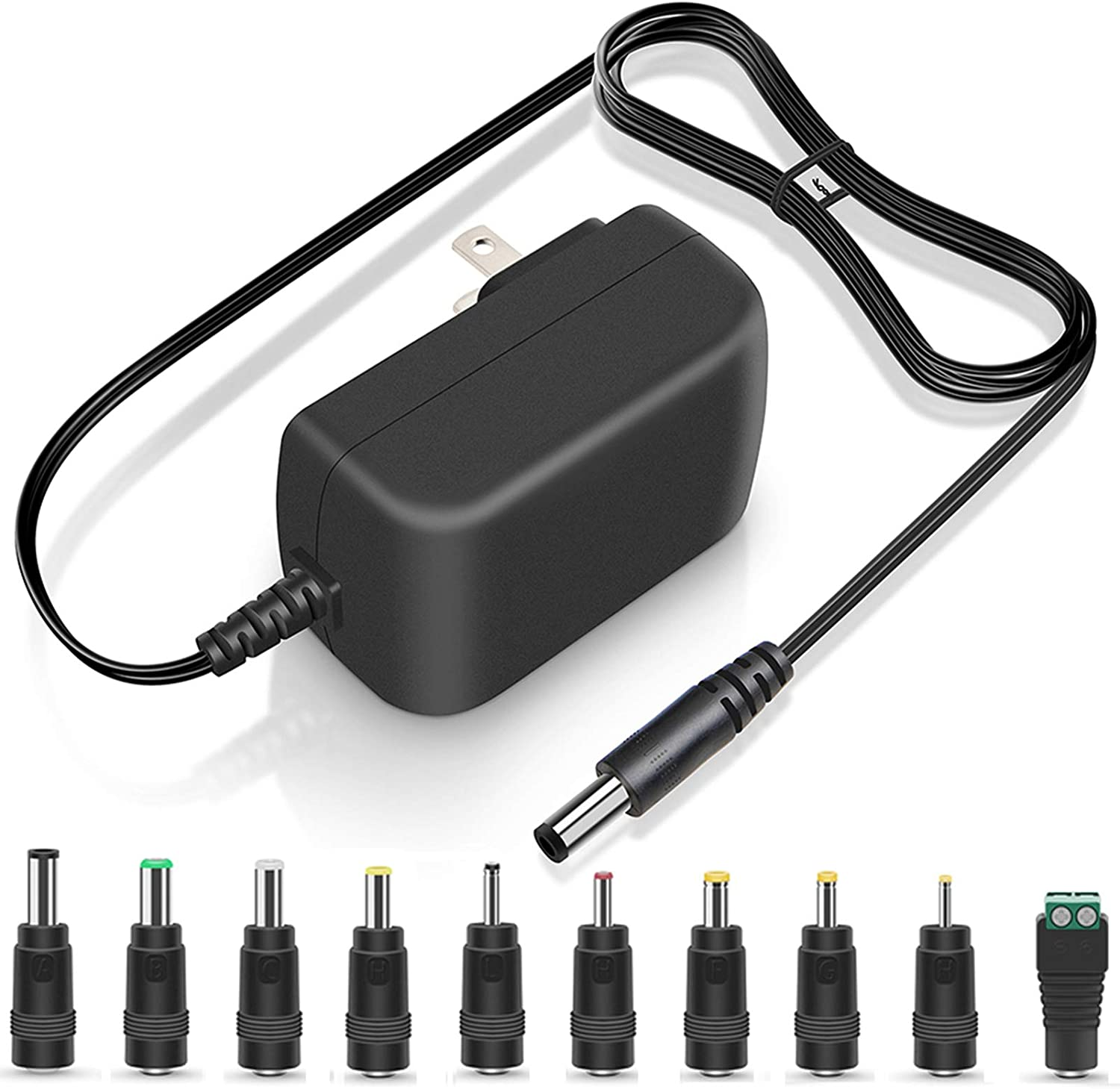 UL Listed 14V 2A 1.5A 1A AC Adapter 28W Switching DC Power Supply 10 Multi Jacks Universal Adaptor Regulated Charger for Recorder Speaker Monitor Scanner 6.5FT Power Cord Transformer Plug