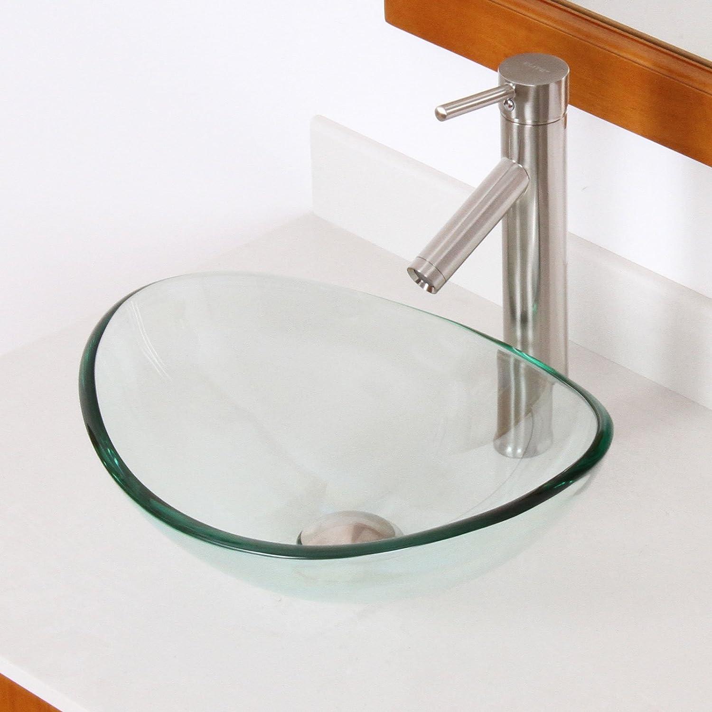 ELITE Unique Oval Transparent Tempered Glass Bathroom Vessel Sink      Amazon.com