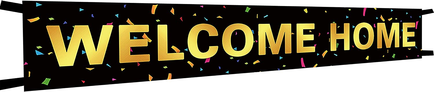 Large Gold Black Large Welcome Home Banner, Welcome Home Bunting Banner, Homecoming Party Decorations.