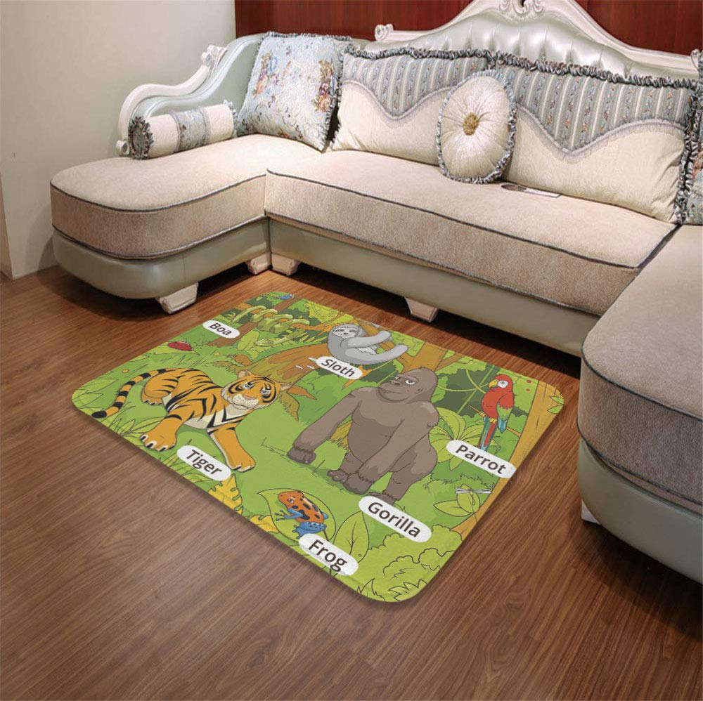 YOLIYANA Modern Carpet,Educational,for Living Room Bathroom,55.12'' x78.74'',Jungle Animals Colorful Funny Hand Drawn
