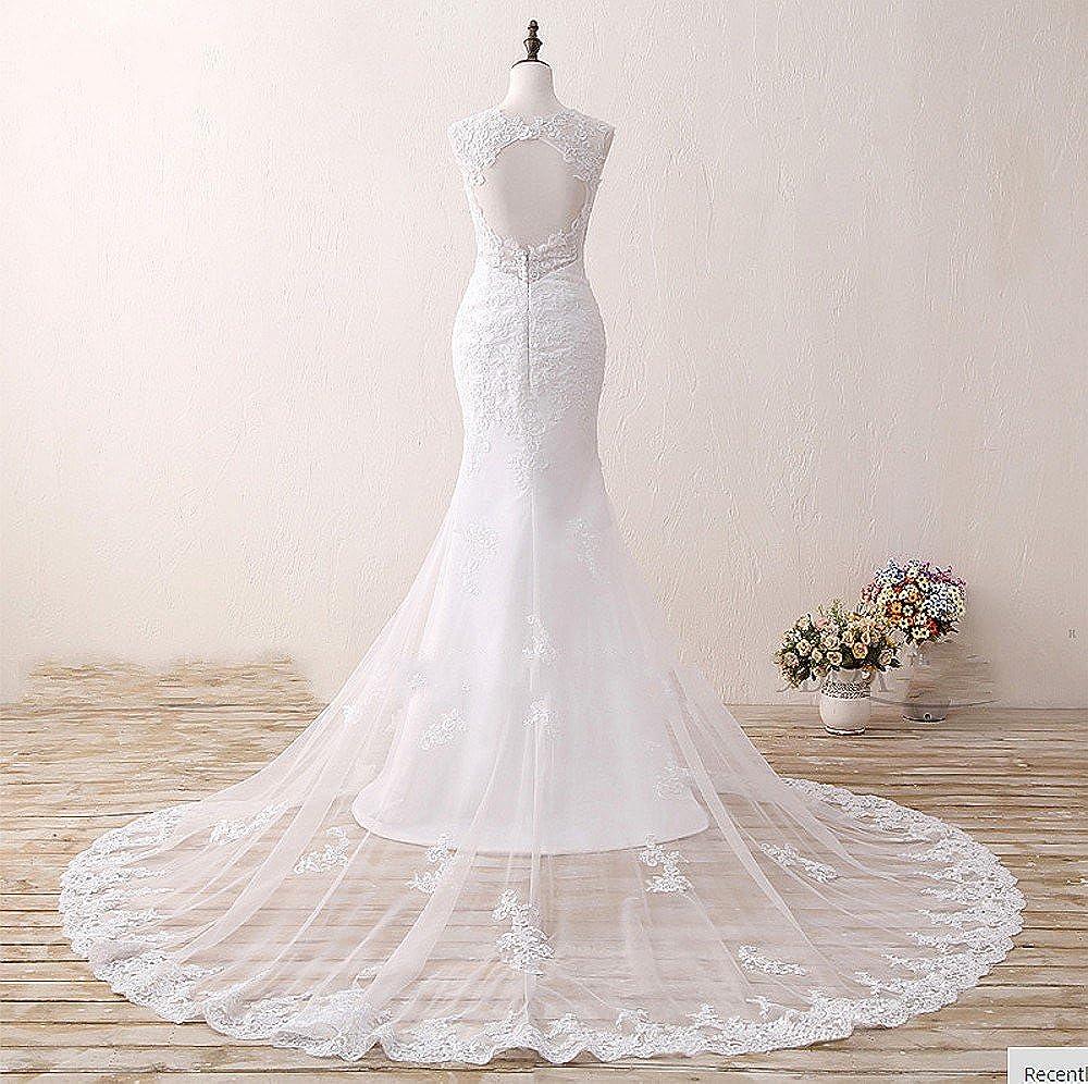 Color blanco marfil novia vestidos 2017 elegante de sirena diseño de mujer niña para vestido de novia Rojo Marfil 34: Amazon.es: Ropa y accesorios