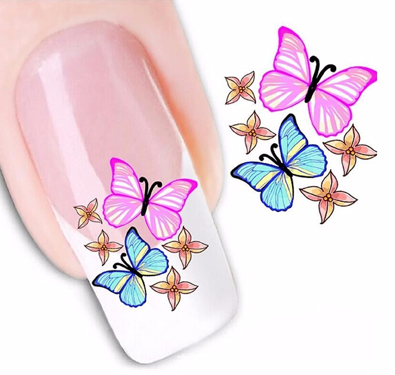 Amazon.com: Hot Sale! 3PCS Butterfly Water Nail Art Sticker Decal ...