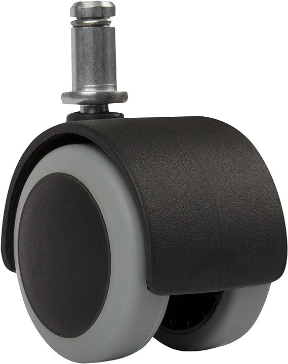 Slipstick CB680 2 Inch Floor Protecting Rubber Office Chair Caster Wheels (Set of 5) Standard Stem Size - Black/Gray