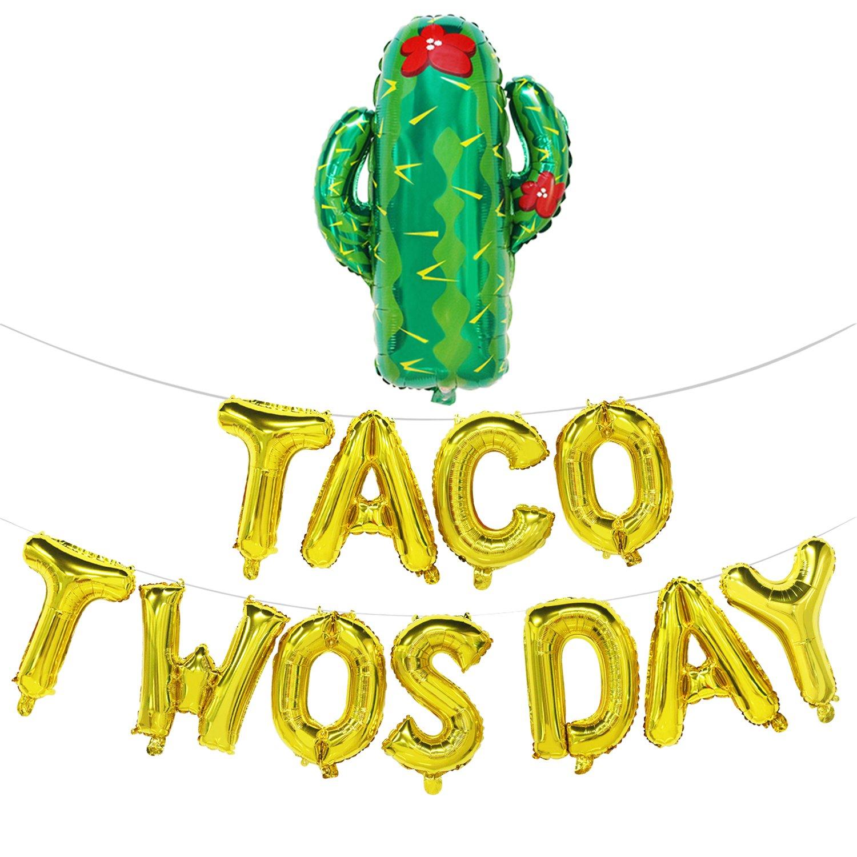 Taco TwosdayBalloons with Cactus | Taco Twosday Party Decorations | 2nd Birthday Decorations | Taco Twosday Banner Sign | Fiesta Theme Party Decorations | Gold, 16inch