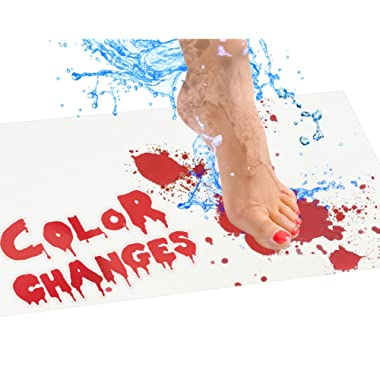 Bloody Bath Mat – Color Changing Sheet Turns Red When Wet – Make Your Own Bleeding Footprints That Disappear White – Sheet, for Shower/Bathroom – Regular Size 16x39in (420x1000mm)