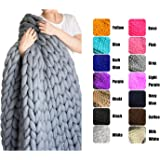 "EASTSURE Bulky Knit Throw Chunky Sofa Blanket Hand-made Pet Bed Chair Mat Rug,Grey,32""x32"""