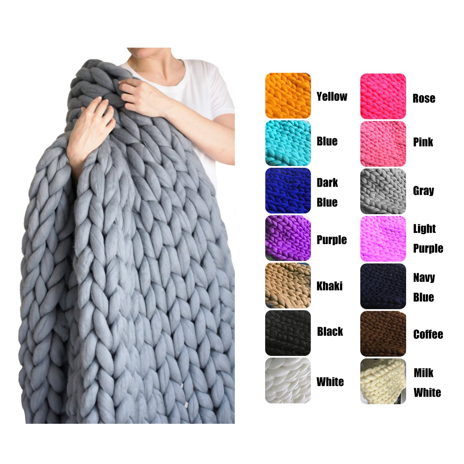EASTSURE Bulky Knit Throw Chunky Sofa Blanket Hand-made Super Large Pet Bed Chair Mat Rug Grey 40''x79'' by EASTSURE (Image #1)