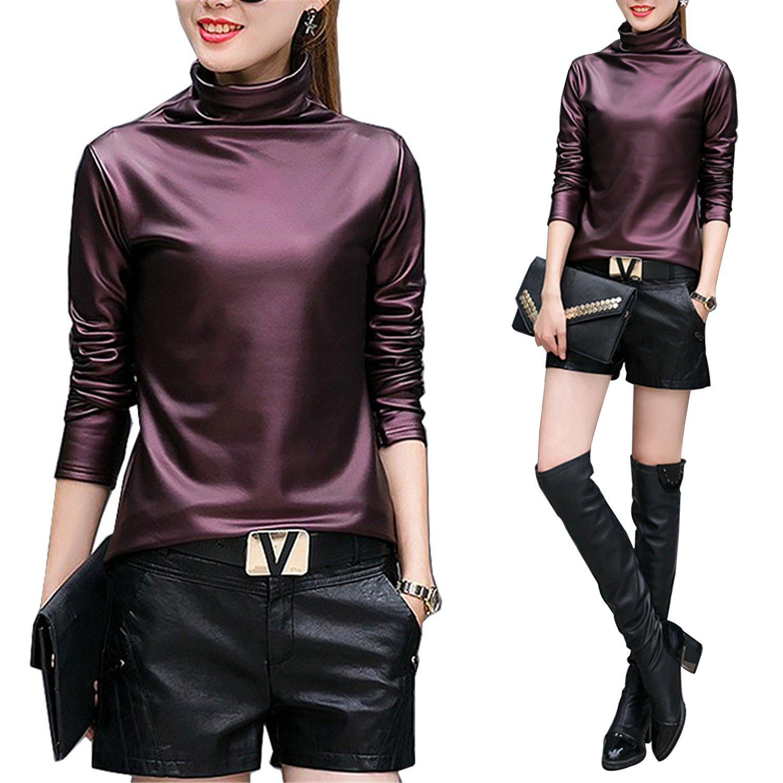 e6d9454fa41 Amazon.com  Plus size 4XL t-shirts women harajuku sexy long sleeve  Turtleneck velvet t shirt female tops american apparel PU Leather t shirt  wine red XL  ...